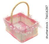 Empty Pink basket isolated on white background - stock photo