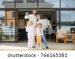 family with children looking at ... | Shutterstock . vector #766165381