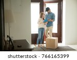 young woman putting signature... | Shutterstock . vector #766165399