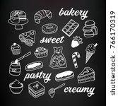 desserts  pastry  bakery hand... | Shutterstock .eps vector #766170319