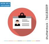 id card flat icon with long... | Shutterstock .eps vector #766183009