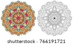 black and white sketch  contour ... | Shutterstock .eps vector #766191721