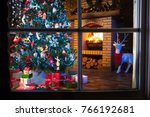 christmas home interior with... | Shutterstock . vector #766192681