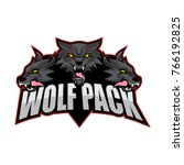 wolf pack vector logo design   Shutterstock .eps vector #766192825