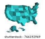 3d map of united states of... | Shutterstock .eps vector #766192969