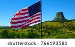American flag waving outside...