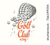 Golf Basket With Balls. Vector...