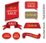 christmas sale  red realistic... | Shutterstock .eps vector #766203304