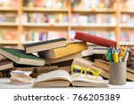 book  shelf  table. | Shutterstock . vector #766205389