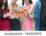 happy time. group of friends... | Shutterstock . vector #766205995