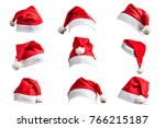 christmas hat on white... | Shutterstock . vector #766215187