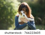 Girl With Dog Play. Person And...