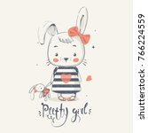 cute little bunny gilrl with... | Shutterstock .eps vector #766224559