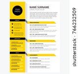 creative cv   resume template... | Shutterstock .eps vector #766232509
