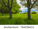 beautiful landscape with a path ... | Shutterstock . vector #766256611