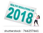cheerful woman wearing... | Shutterstock . vector #766257661