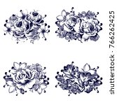 collection of floral bouquets | Shutterstock . vector #766262425