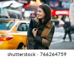 happy woman enjoy the walk on... | Shutterstock . vector #766264759