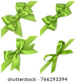 set of decorative green bows... | Shutterstock .eps vector #766293394