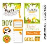 set for jungle party   Shutterstock .eps vector #766305829