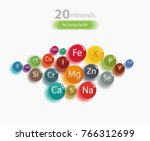 20 minerals  microelements and... | Shutterstock .eps vector #766312699