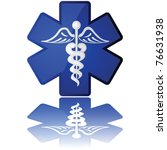 Glossy vector illustration in white and blue showing a medical icon - stock vector