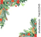 colored pencils christmas... | Shutterstock . vector #766322545