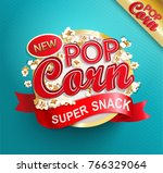 popcorn label  symbol or sign.... | Shutterstock .eps vector #766329064