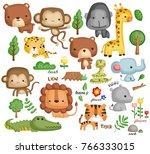 Stock vector jungle animal vector set 766333015