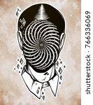 hand drawn portrait of a weird... | Shutterstock .eps vector #766336069