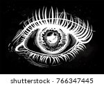 beautiful realistic eye of a... | Shutterstock .eps vector #766347445