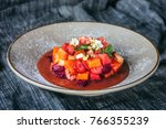 delicious fruit salad on plate  ... | Shutterstock . vector #766355239
