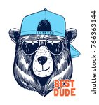 cool bear illustration for t... | Shutterstock .eps vector #766363144