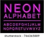 violet neon alphabet with...   Shutterstock .eps vector #766365889
