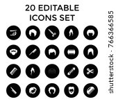 haircut icons. set of 20... | Shutterstock .eps vector #766366585