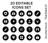 aid icons. set of 20 editable... | Shutterstock .eps vector #766366615