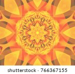 seamless orange kaleidoscope... | Shutterstock . vector #766367155