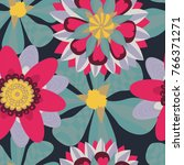 bright floral seamless pattern | Shutterstock .eps vector #766371271