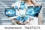 tech devices connected to each... | Shutterstock . vector #766372171