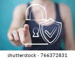 businessman on blurred... | Shutterstock . vector #766372831