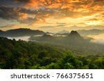beautiful mountain and fog with ... | Shutterstock . vector #766375651
