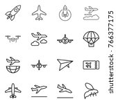 thin line icon set   rocket ... | Shutterstock .eps vector #766377175