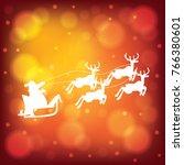 santa claus riding reindeer... | Shutterstock .eps vector #766380601