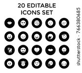 smile icons. set of 20 editable ... | Shutterstock .eps vector #766380685
