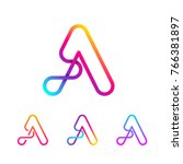 abstract letter a line monogram ... | Shutterstock .eps vector #766381897
