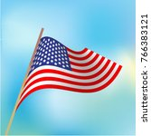wavy american flag against the... | Shutterstock .eps vector #766383121