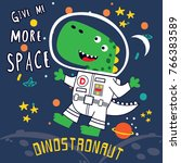 dino astronaut cartoon vector | Shutterstock .eps vector #766383589