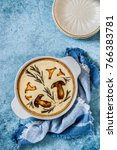 Small photo of Pork, Porcini, Chanterelle and Rosemary Tart, copy space for your text