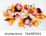 colorful vegetarian appetizer  | Shutterstock . vector #766385341
