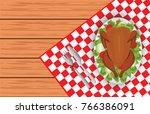 roasted turkey bird on oval... | Shutterstock .eps vector #766386091